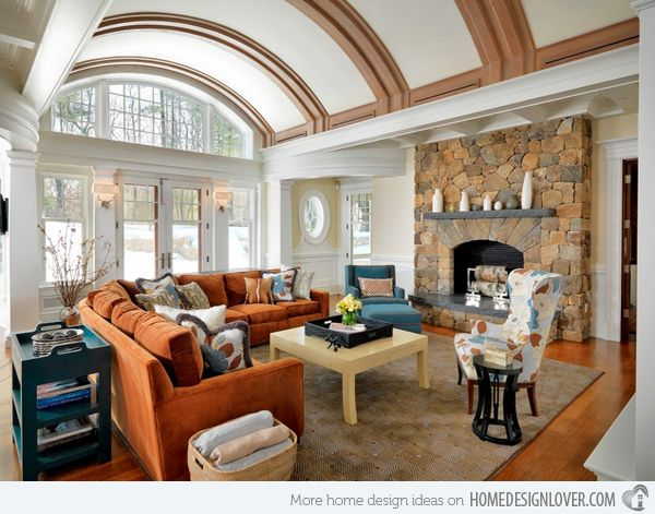 15 stunning living room designs with brown blue and orange accents more living rooms ideas