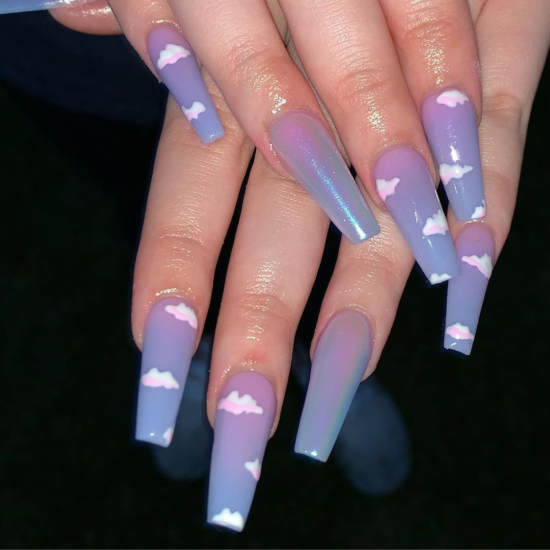 Head In The Clouds Clouds Chrome Purple Blue Ombre Acrylic Forms Almondnails Pretty Acrylic Nails Ombre Acrylic Nails Nail Designs