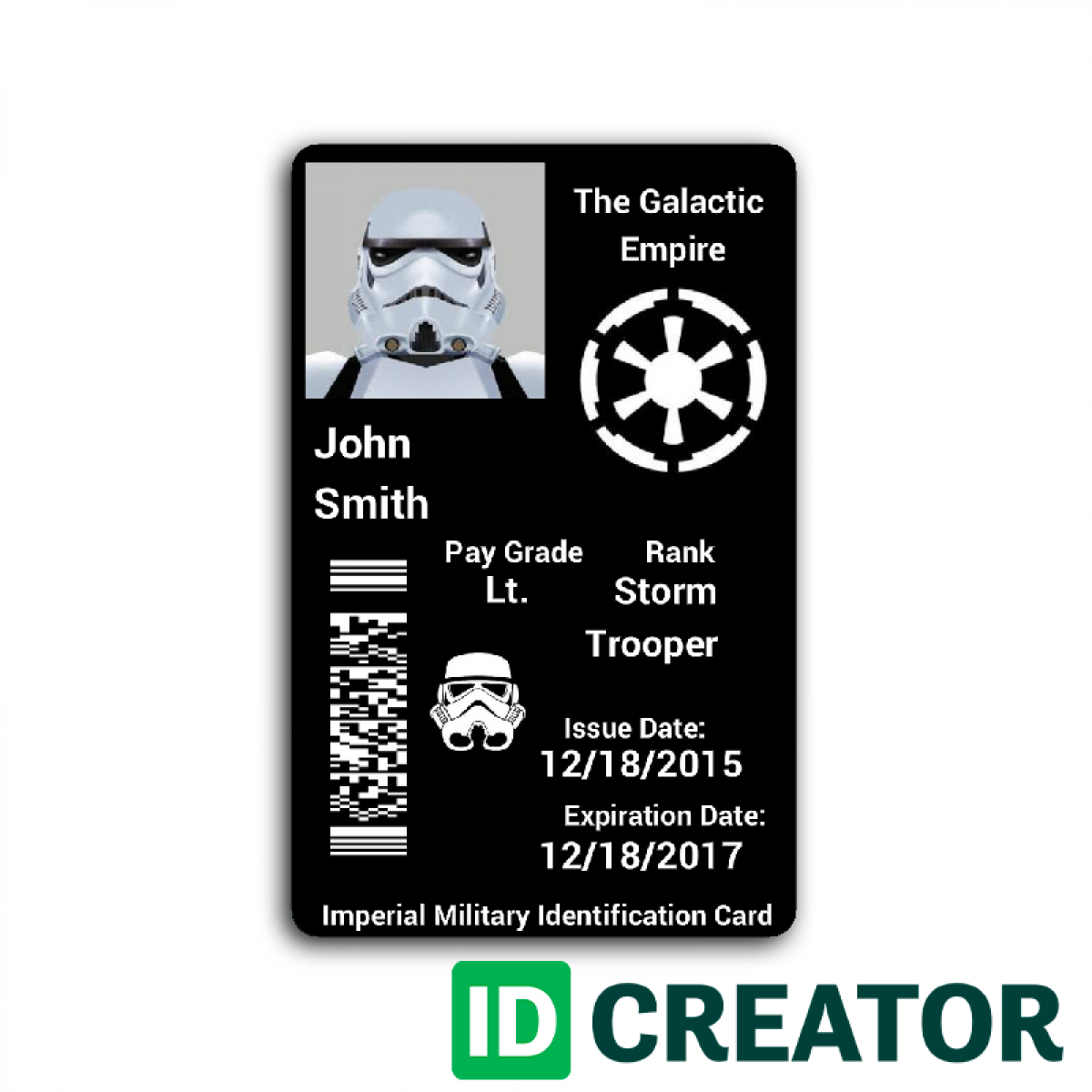 Star Wars Id Card Star Wars Empire Star Wars Military Cards