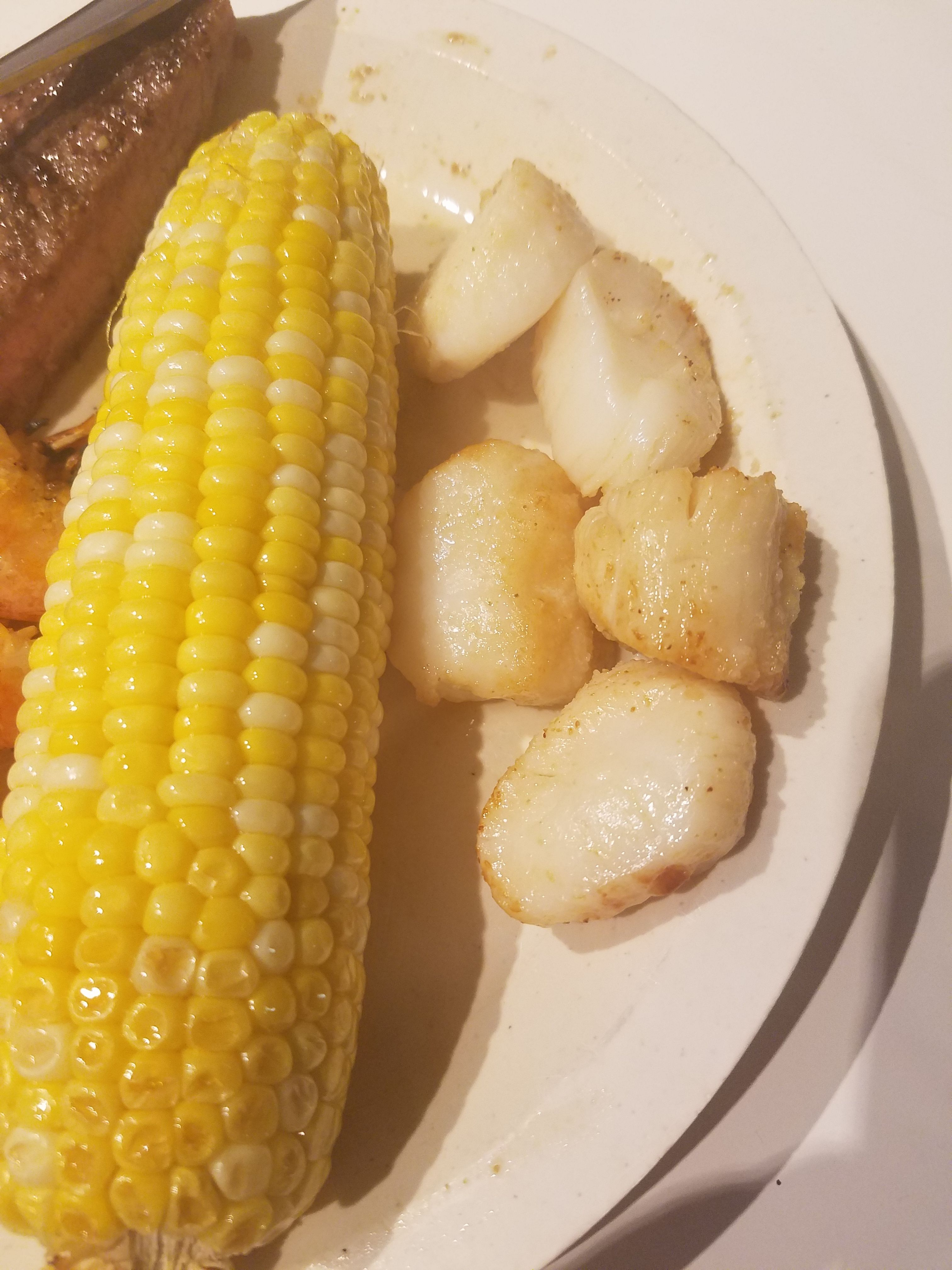 Air Fried Corn on the Cob with Air Fried Sea Scallops