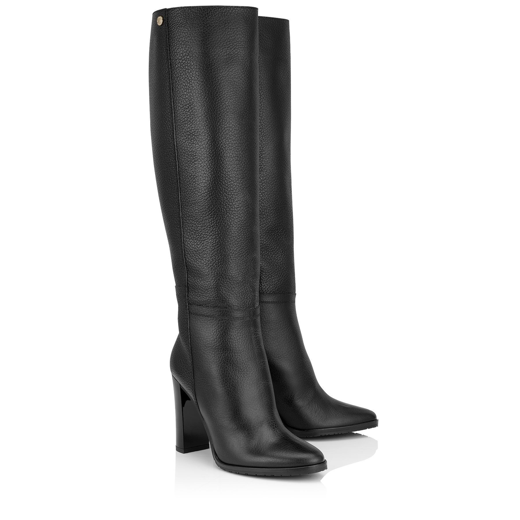5fbb65d798fc Black Embossed Grainy Leather Knee High Boots