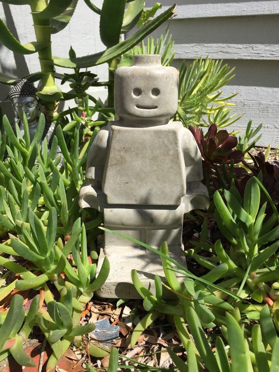 Gnome In Garden: Large Toy Minifig Style Concrete Bookend, Garden Gnome