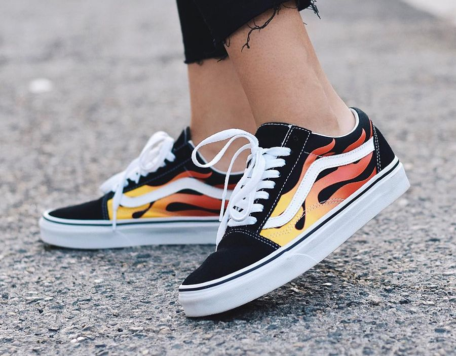 vans flame old skool on feet