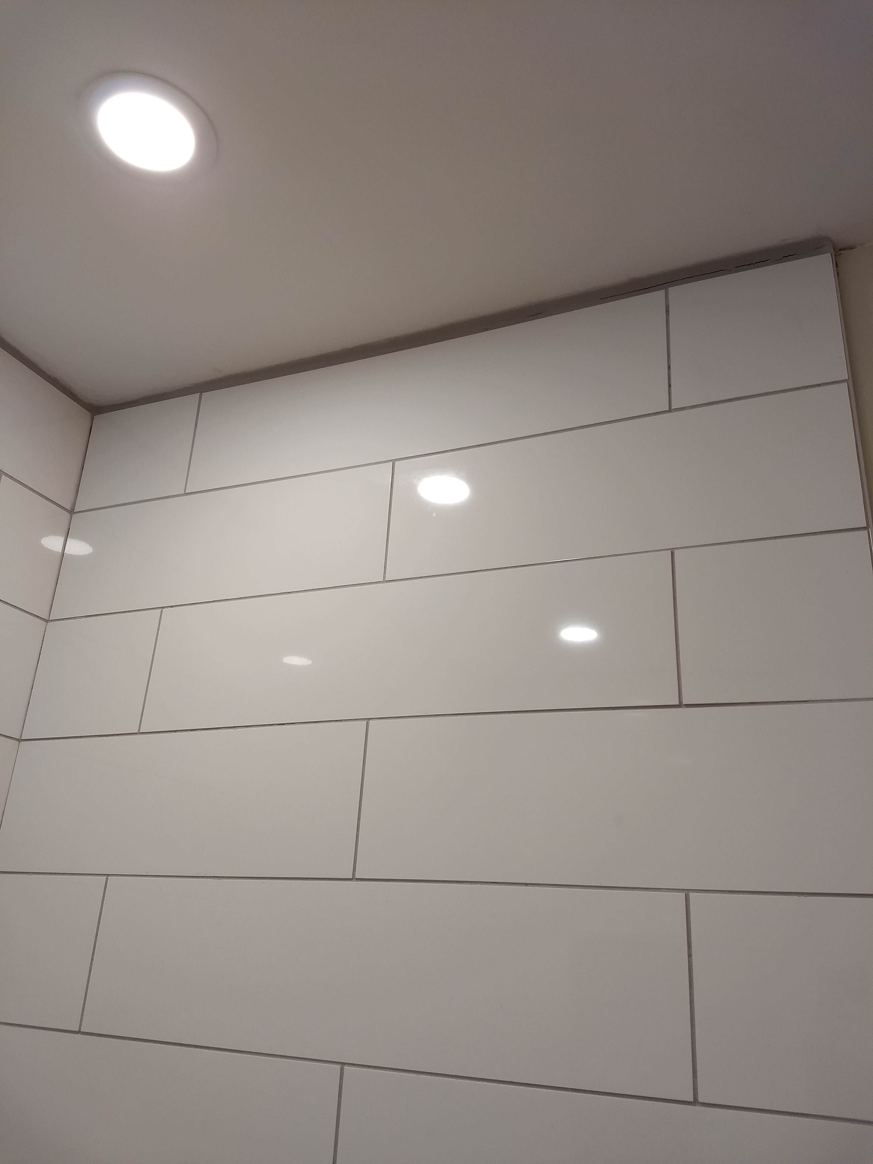 We Intended To Tile Our Shower To The Ceiling But We Didn T Plan It Right And We Left A 3 4 Gap Between The Last Tile Shower Ceilings Ceiling Trim Shower Tile