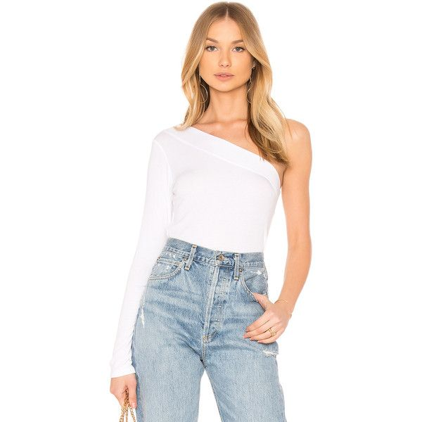 e5aa528ca19 Lanston One Shoulder Top (£66) ❤ liked on Polyvore featuring tops, fashion  tops, white top, one sleeve top, white one shoulder top, one shoulder top  and ...