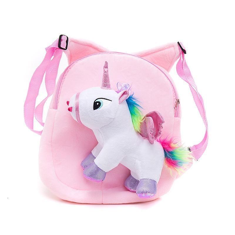 Cute Kids Girls School Supplies Bag Furry Plush 3D Unicorn Backpack Shoulder Bag