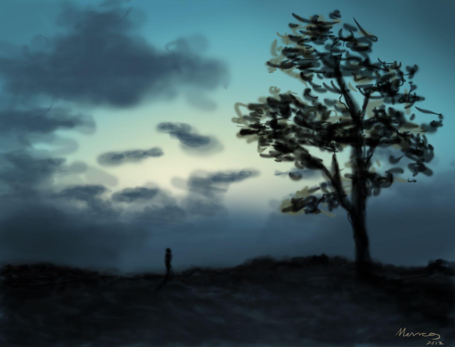 autorretrato con cielo nublado y árbol   Cielo nublado, Nublado,  Autorretratos