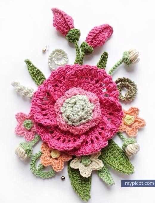 Pin de Rosario Guzman en tejido | Pinterest | Ganchillo, Flores y Tejido