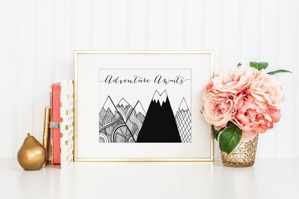 Adventure Awaits Black Mountains Digital Print Printable Gender Neutral Nursery Kids