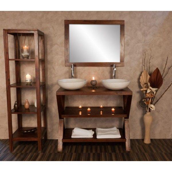 Mur beton cire et meubles bois Salle de bain Pinterest