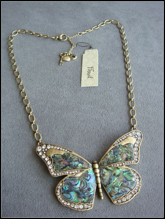 Rare new fossil gold tone large abalone butterfly pave crystal rare new fossil gold tone large abalone butterfly pave crystal pendant sold out mozeypictures Gallery