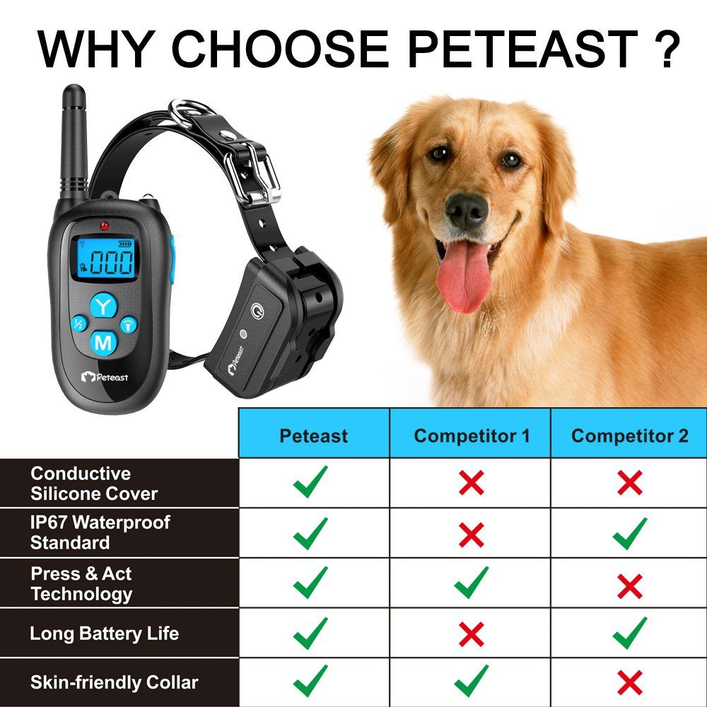 Peteast Remote Dog Training Collar Rechargeable And Waterproof