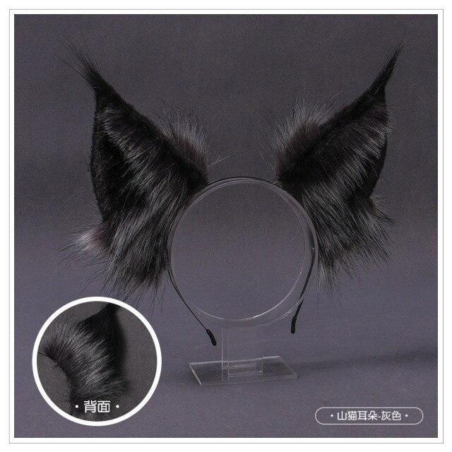 Photo of New Kawaii Plush Cat Ears Headband Realistic Furry Fluffy Animal Wolf Hair Hoop Lolita Anime Decor Cosplay Costume Accessories – 1
