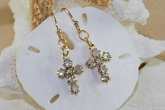Opal Earrings Cross Earrings Baptism Gift Gold by ornatetreasures