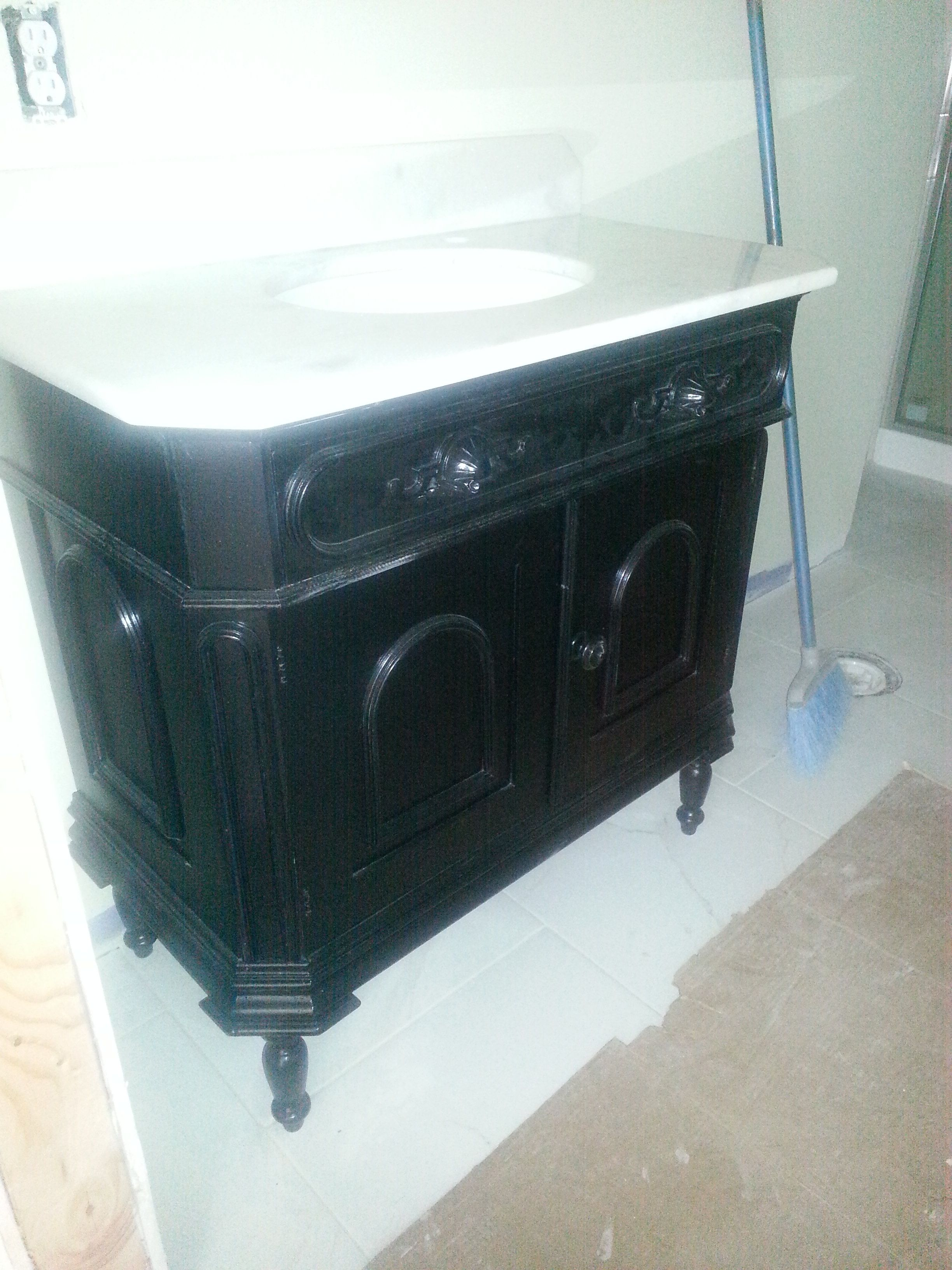antique dry sink turned into a bath vanity. | Antique dry sink