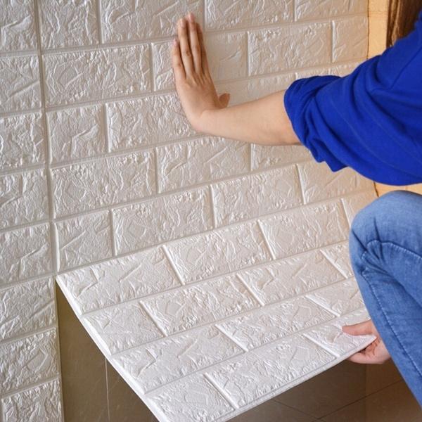 3D Foam Stone Brick Self-adhesive Wall Sticker Panels Background Decal 60*30cm
