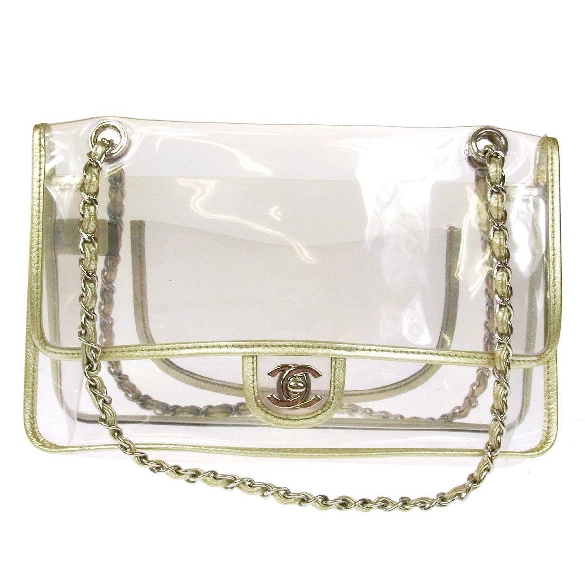 95ed315ee8cc Details about Authentic CHANEL CC Logos Chain Shoulder Bag Clear ...