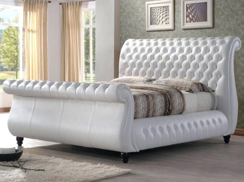 Image Result For White Leather Tufted Sleigh Bed Leather Bed