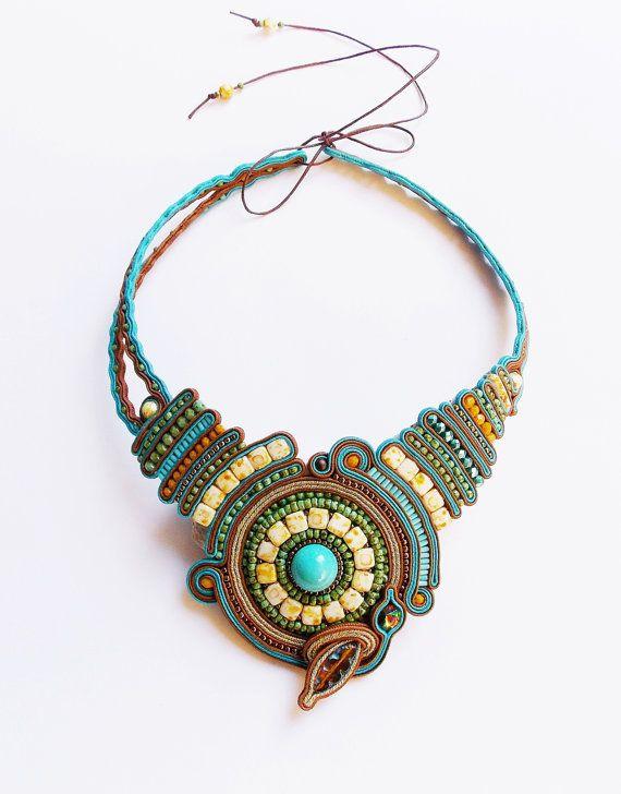 Soutache statement jewelry. Cord necklace. Extravagant ...