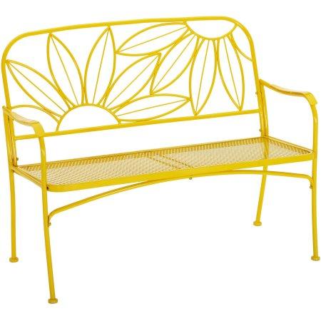 Mainstays Hello Sunny Outdoor Patio Bench Buy W Cushion And