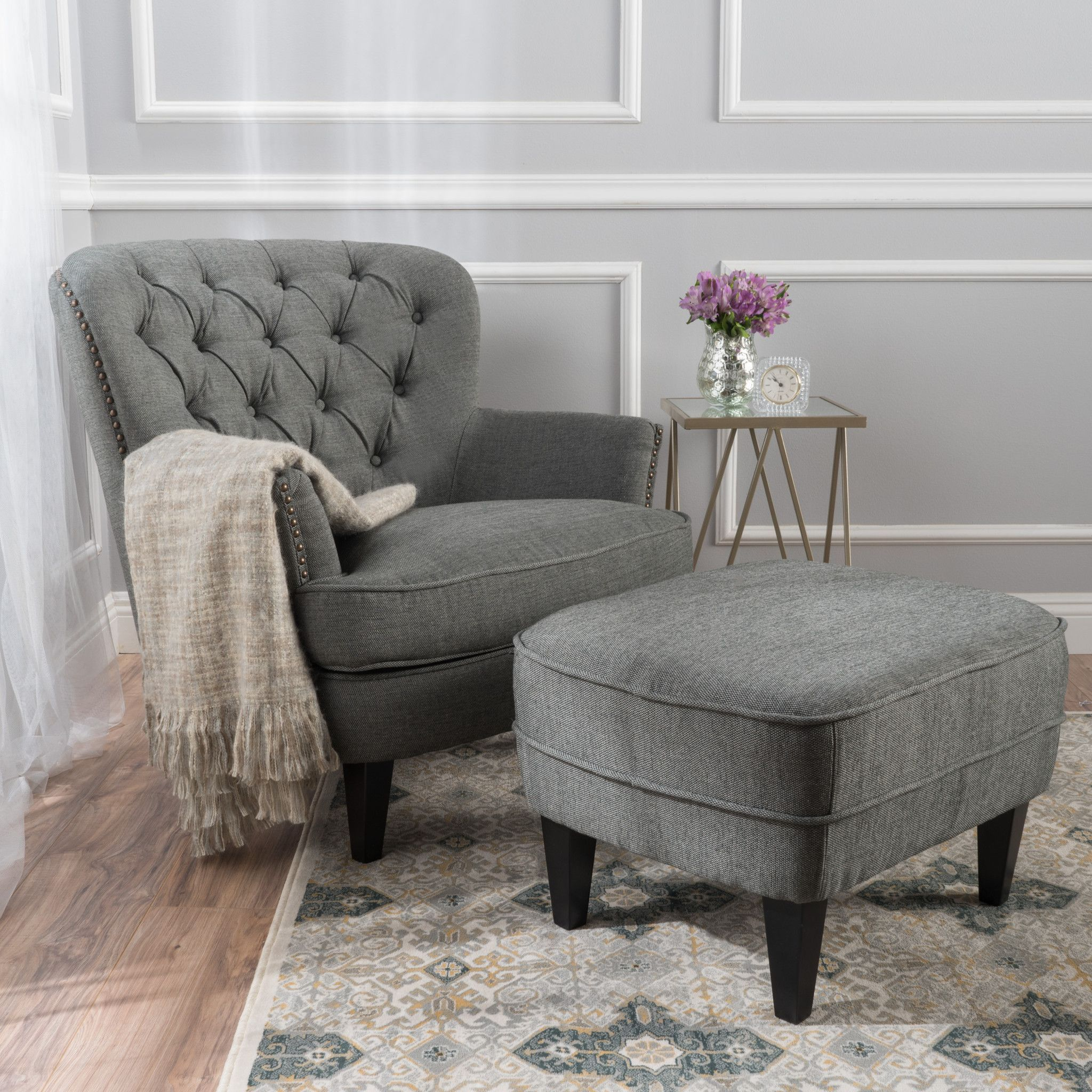 Teton Button Tufted Upholstered Club Chair With Footstool