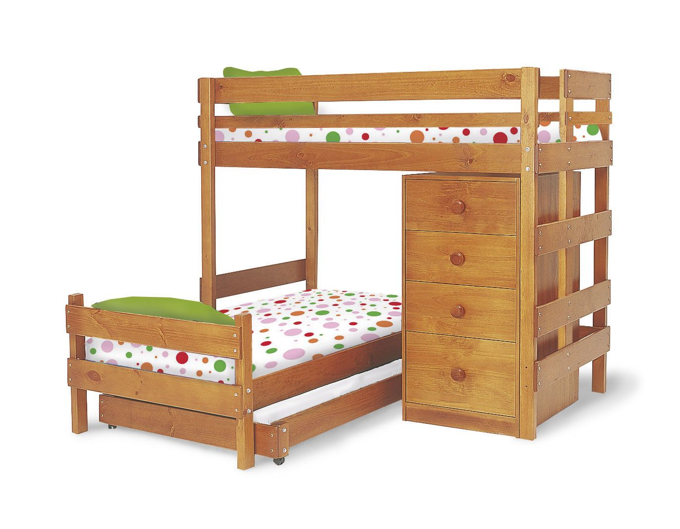 Corner twin loft bed  Bunkers Midline Corner Bunk Bed with Storage with midline chest