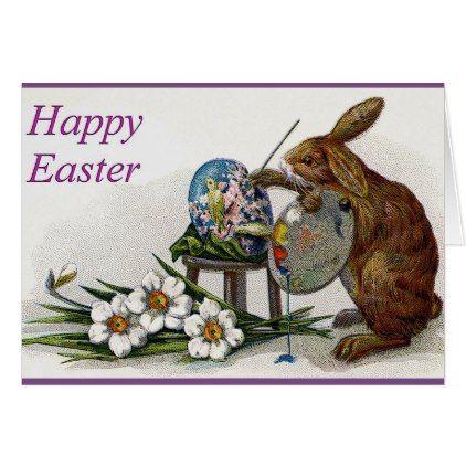 Cute Bunny Happy Easter Greeting Card  Holiday Card Diy