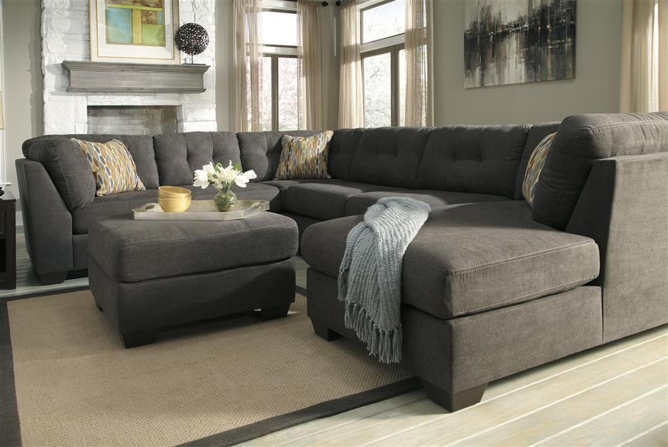 oversized sectional delta city steel gray microfiber plush oversized chaise sectional sofa. Black Bedroom Furniture Sets. Home Design Ideas