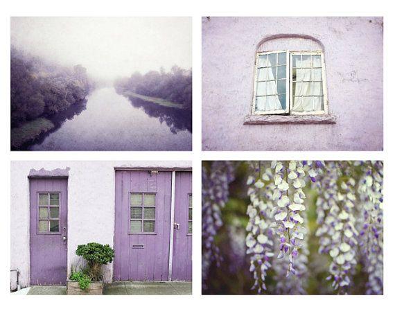 Purple Photography Set Wall Art Of Four Photographs Plum Home Decor