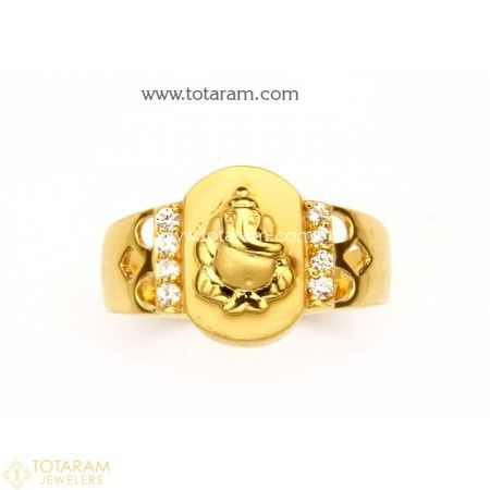 22K Gold Ganesh Ring for Men With Cz 235 GR3221 Buy this