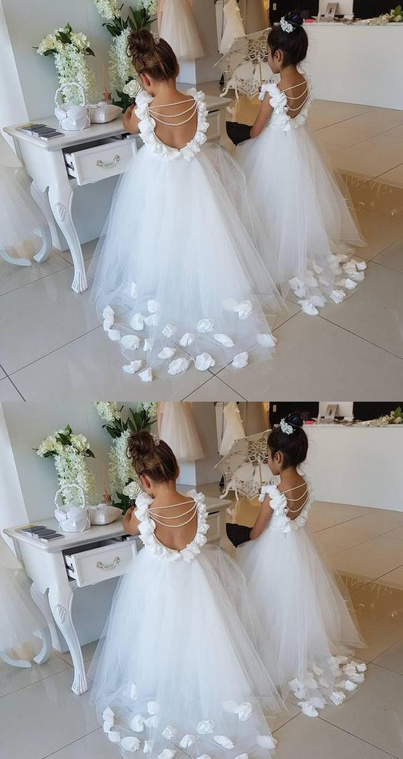 Flower Girl Dresses with Handmade Flower Ball Gown First Communication Dress