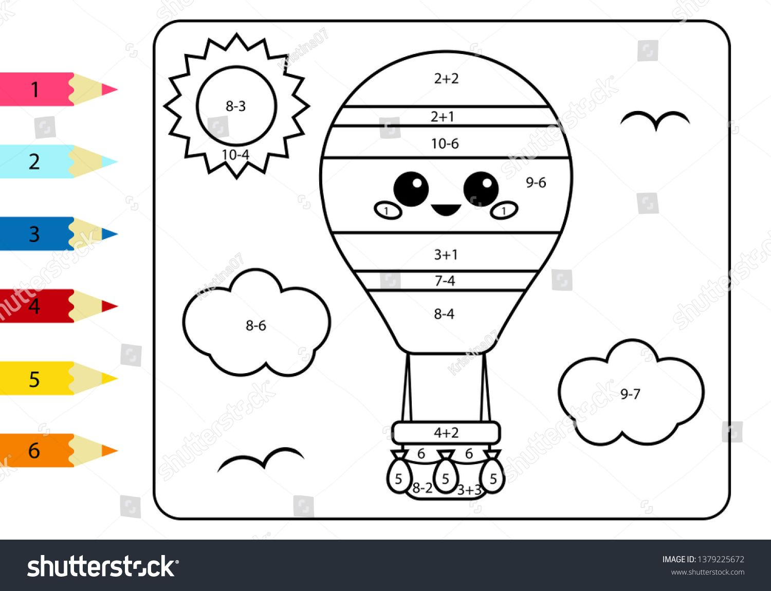 Coloring Page By Numbers Kawaii Cartoon Hot Air Balloon Activity Worksheet Addition And Subtraction Educat Coloring Pages Cartoon Educational Games For Kids