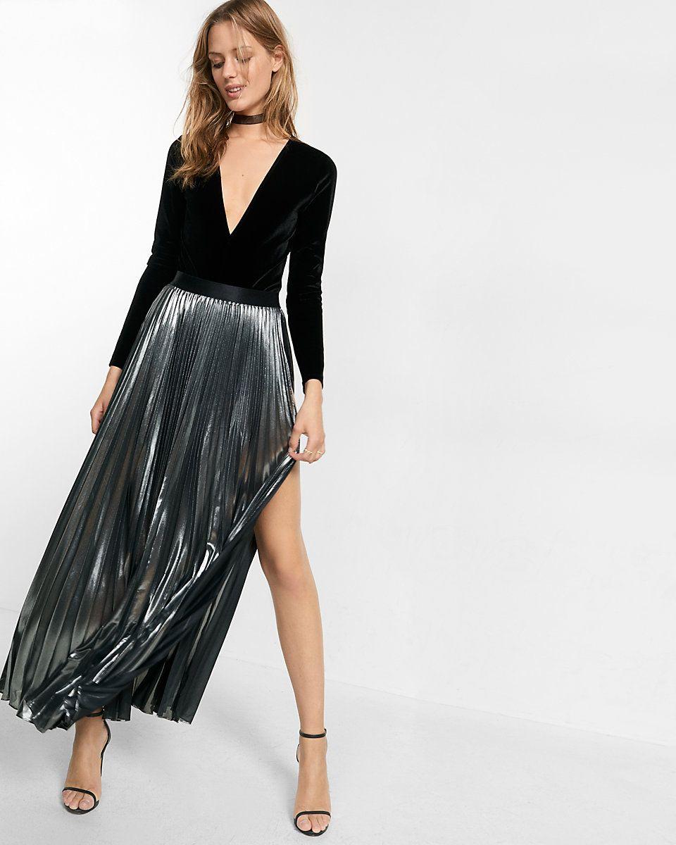 3e9804704a express metallic slit front pleated maxi skirt (Alice + Olivia ...