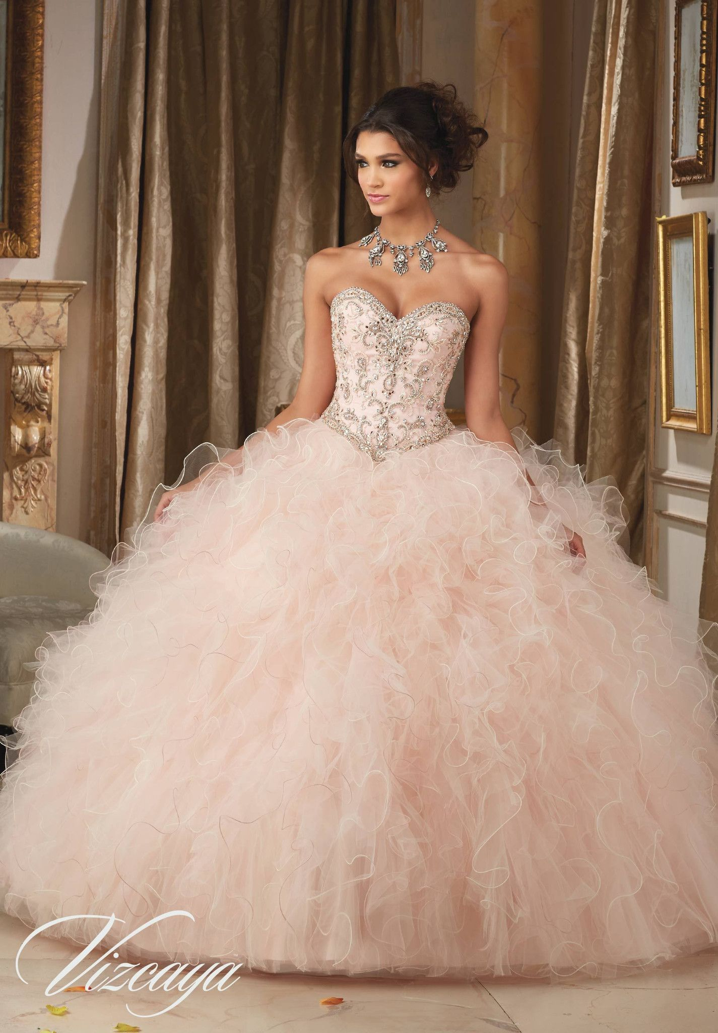 Strapless Ruffled Quinceanera Dress by