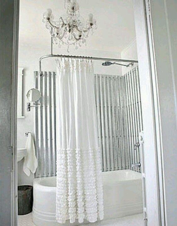 My Next Bathroom Idea Galvanized Steel Shabby Chic Bathroom Bathroom Makeover White Rooms