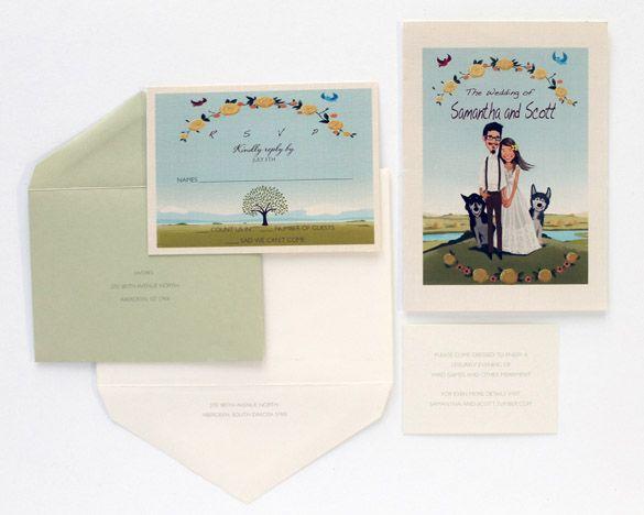 Custom Illustrated Wedding Invitations #illustration #weddinginvitation