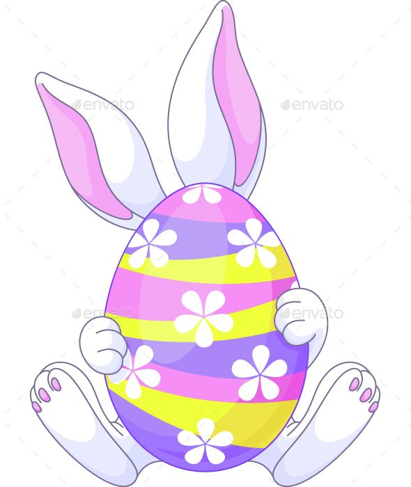 Easter Bunny Hiding Behind A Huge Egg Eps 8 Jpg High Resolution Easter Bunny Colouring Easter Bunny Template Easter Bunny
