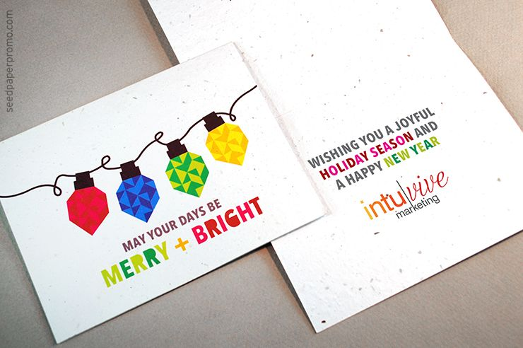 How seed paper business holiday cards can promote your brand and helpful  message suggestions for customizing the inside greeting.