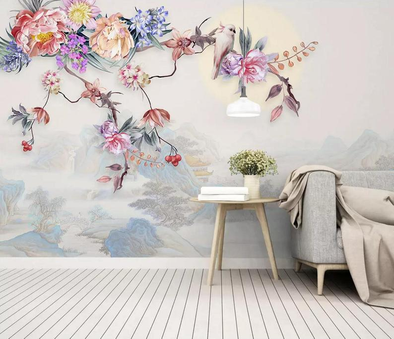 3D Floral,Chinese style,Colorful flower Self Adhesive