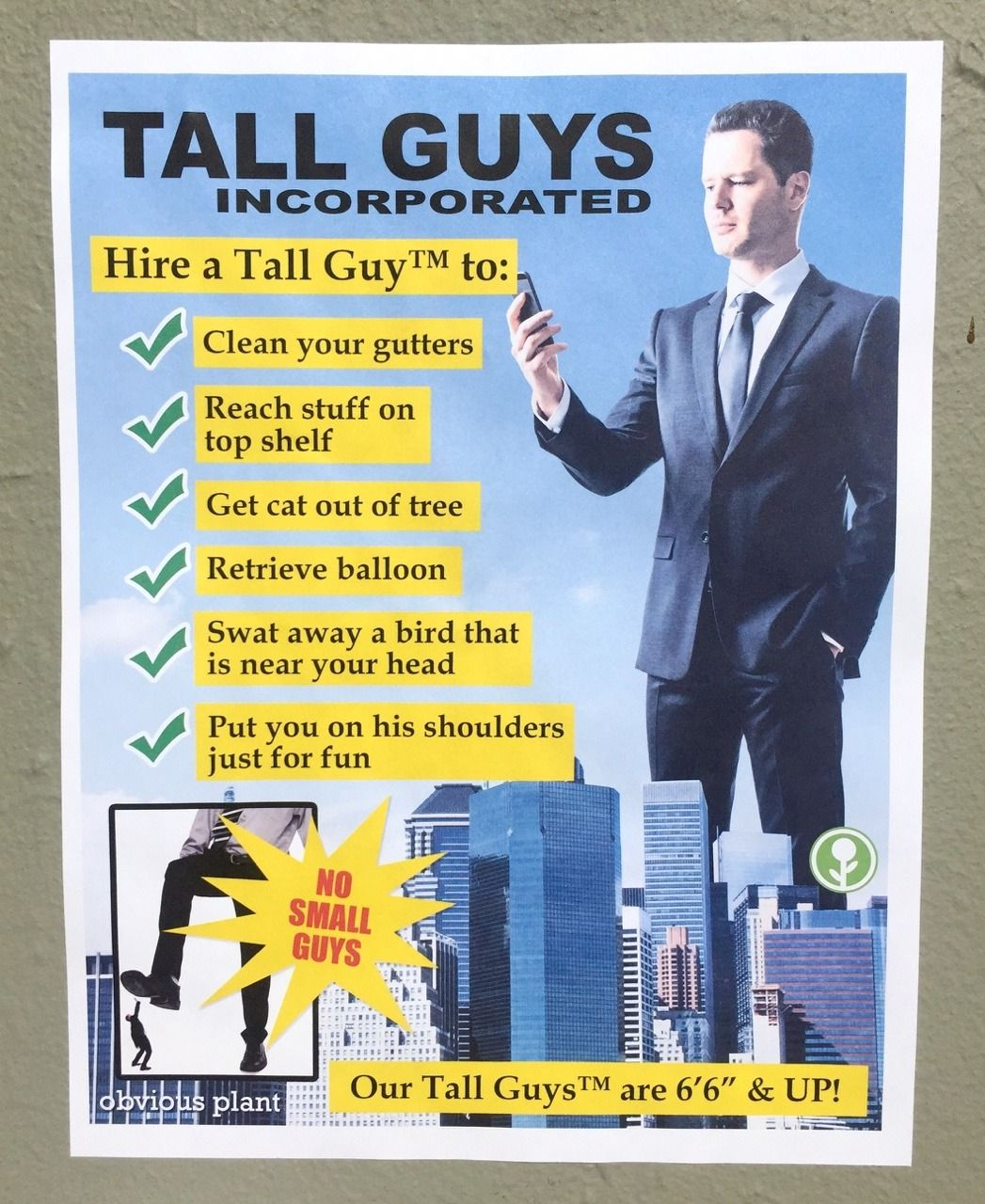 Obviousplant Hire A Tall Guy Tall People Problems People Problems Tall People Memes