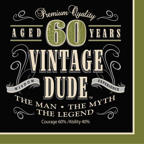 Servietten 60 Geburtstag Vintage Dude 16stuck 40 Geburtstag