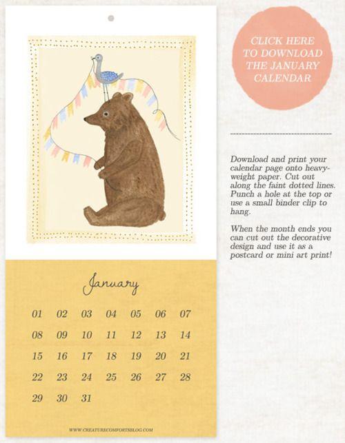 Free Calendar Http Www Creaturecomfortsblog Com Home 2012 1 6