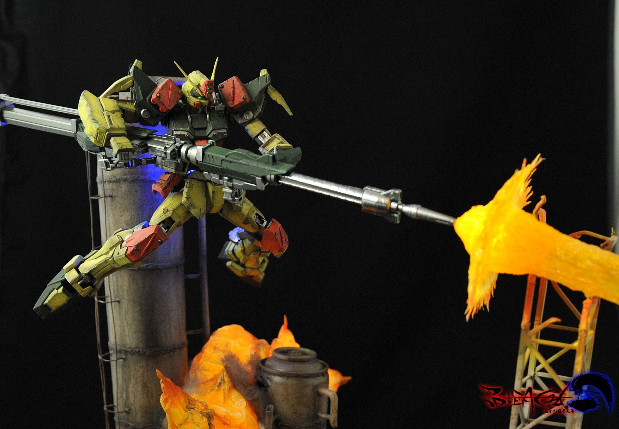 Amazing diorama full leds buster gundam full photoreview