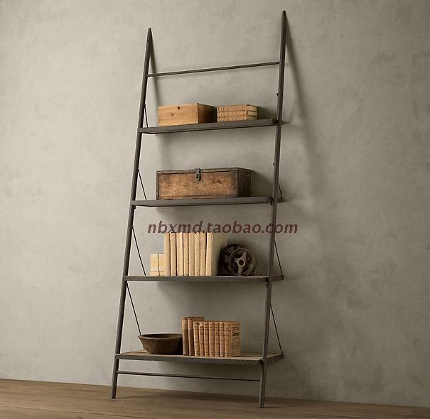 American Wrought Iron Shelf Solid Wood Mix LOFT Ladder Bookcase Shelves Old Style Furniture TV Stand