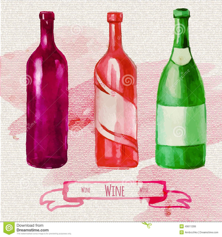 Watercolor Wine Bottle Google Pretrazivanje Bottles Decoration