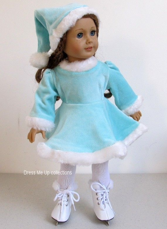 Pale Blue lSkating Dress+Pom-Pom Hat 4 American Girl Dolls 1301B in Dolls & Bears, Dolls, Clothes & Accessories | eBay