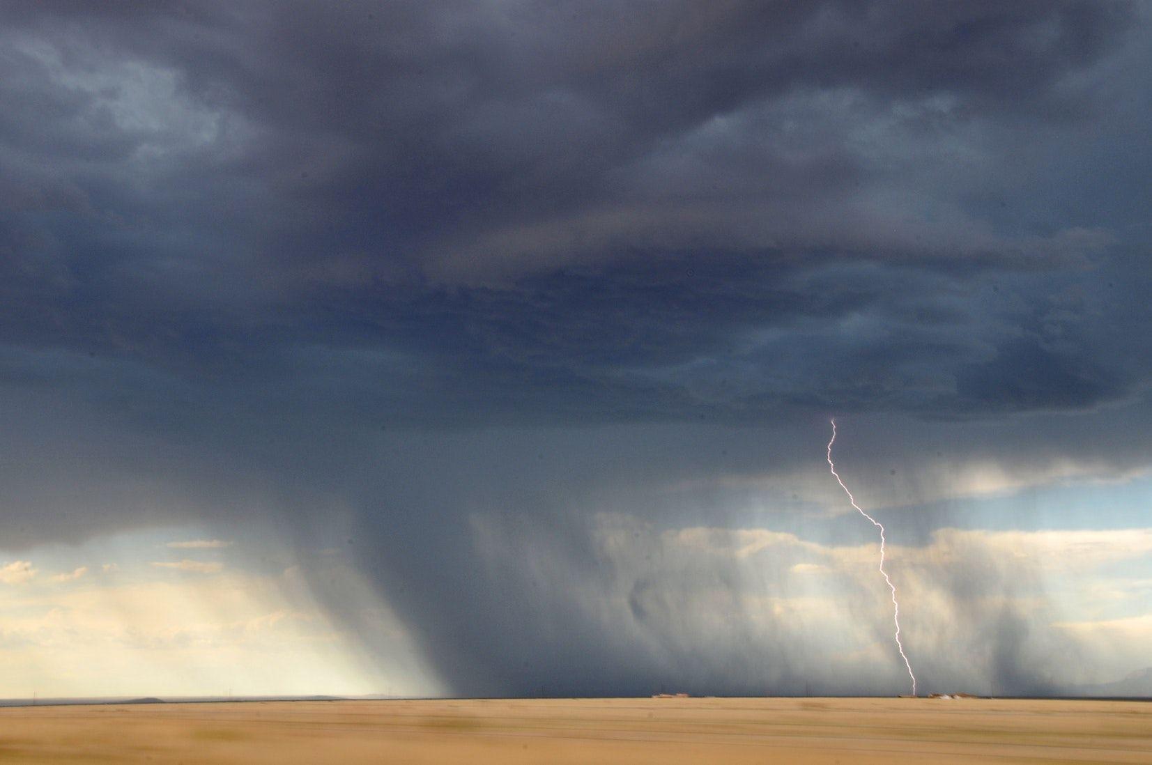 lightning struck on desert Clouds, Outdoor, Storm