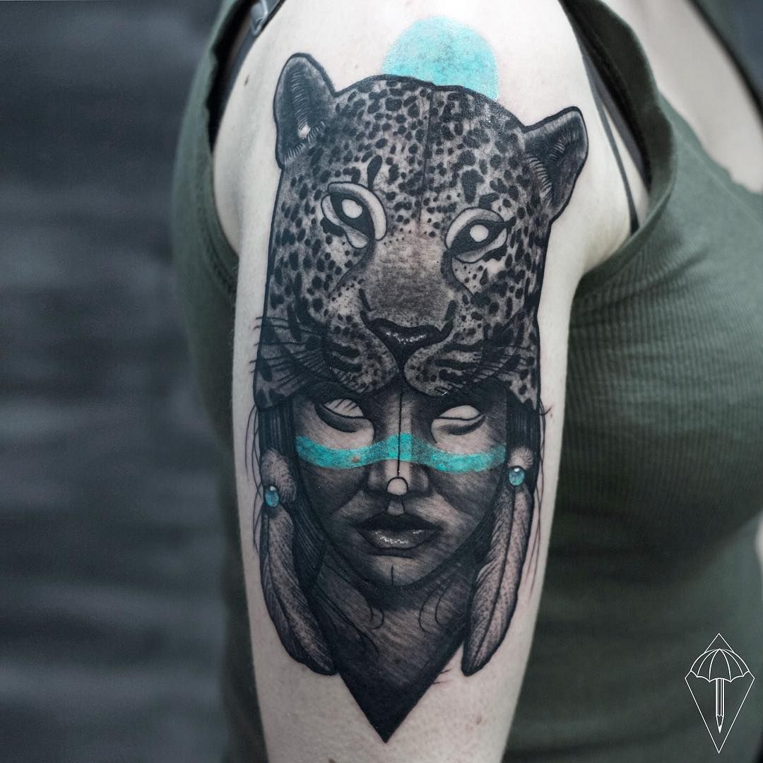 Good girl tattoo ideas nice native leopard and girl tattoo on arm by lipskytattoo  p
