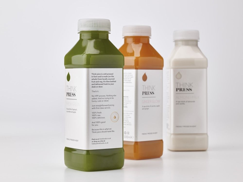 THINK Press Juice packaging, Typography and Packaging design - fresh blueprint cleanse hpp