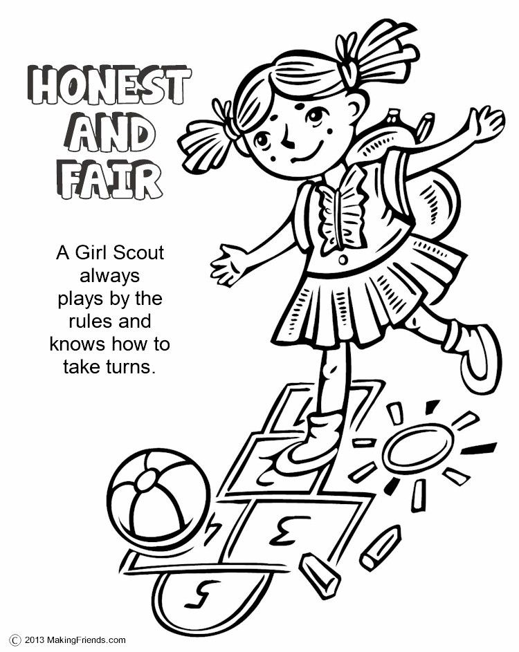 Girl Scout Honest And Fair Coloring Page
